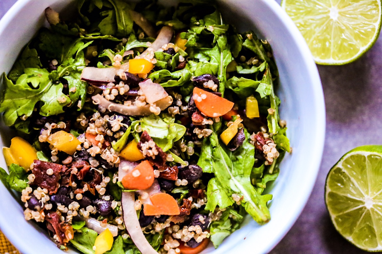 Black Bean and Quinoa Salad with Sundried Tomatoes and Avocado Vinaigrette